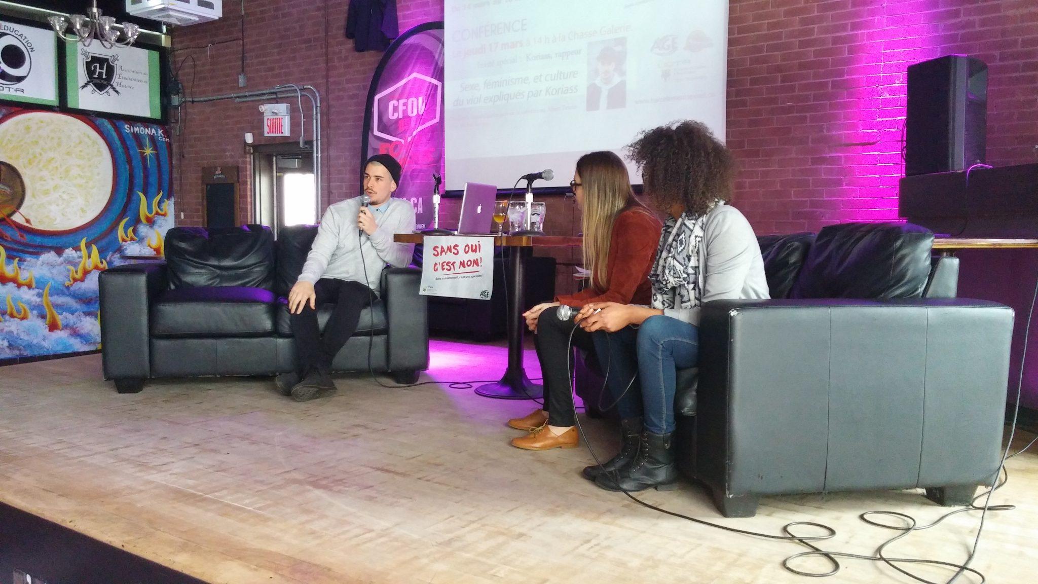 Koriass lors de la conférence Sexe, féminisme et culture du viol à la Chasse-Galerie. Photo: Cathy Simon