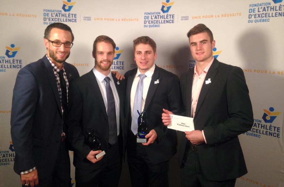 Lors dernier Gala de la Fondation de l'athlète d'excellence du Québec (FAEQ), Marc-Étienne Hubert a été nommé dans la catégorie «Entraîneur par excellence d'une équipe masculine». De leur côté, Charles-David Beaudoin et Guillaume Asselin sont respectivement lauréat dans la catégorie «Leadership» et dans la catégorie «Sport d'équipe masculin». Allan Caron est quant à lui boursier en tant que recrue. Photo: Patriotes