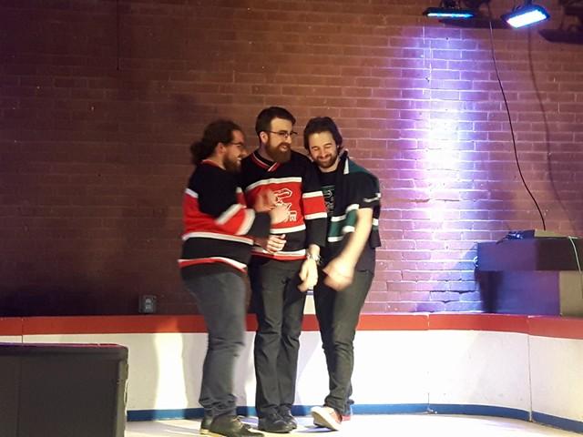 Les joueurs Gabriel Lecompte, Gabriel B. Houde et Francis Dugré-Lampron. Crédit photo: Marianne Chartier-Boulanger
