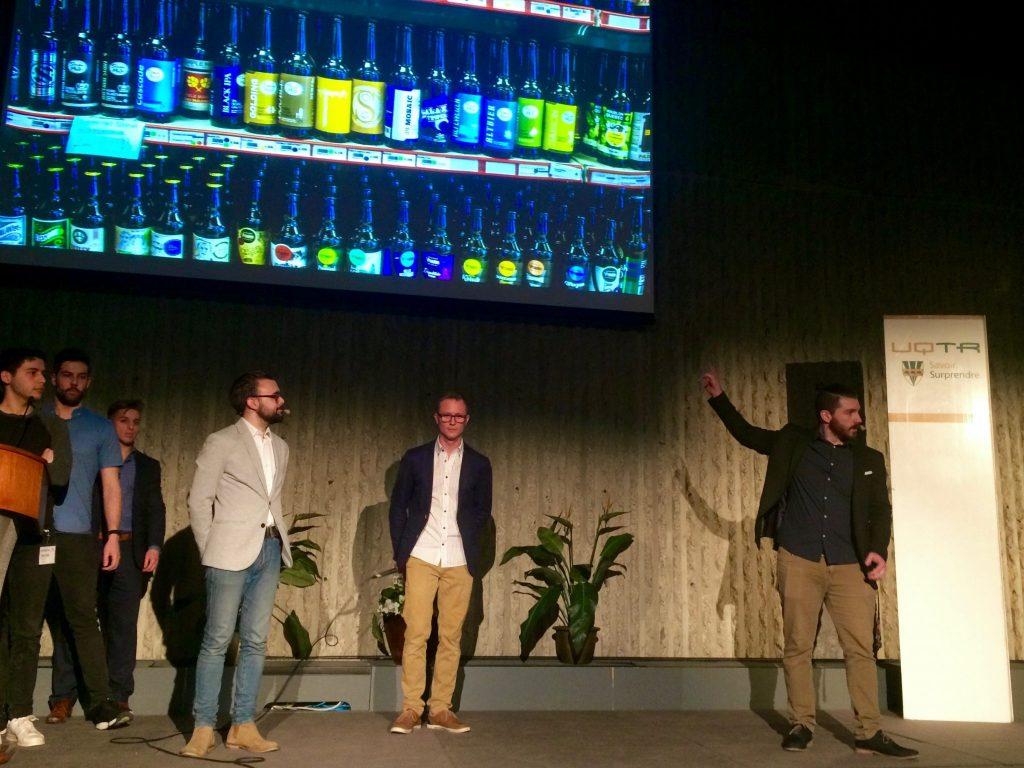 Les créateurs de Ublon lors de leur pitch de dimanche soir. Photo: S. Houle